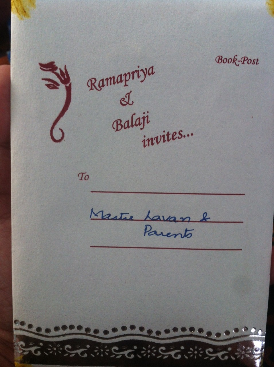 Ram's marriage invite